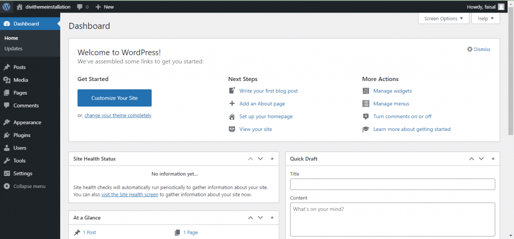 WordPress website Dashboard
