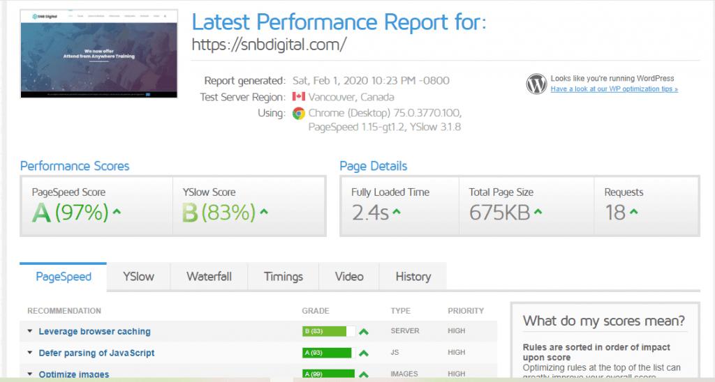 Avada Theme Optimization GT matrix results