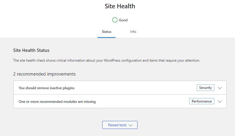 Site Health help in Updating WordPress Regularly